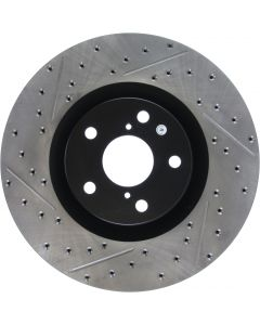 STOPTECH FRONT RIGHT DISC BRAKE ROTOR, SLOTTED AND DRILLED. 2013-19 LEXUS GS350 AWD.